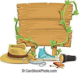 plat, vecteur, tourisme, aventure