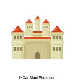 plat, vecteur, tours, grand, ou, royal, style., élevé, mobile, jeu, livre, forteresse, grand, château, roofs., conique, enfants, rouges