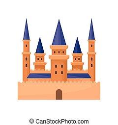 plat, vecteur, tours, palace., ou, royal, élément, élevé, pourpre, jeu, livre, roof., mobile, château, conique, enfants, icône