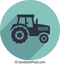 plat, vecteur, tracteur, icône