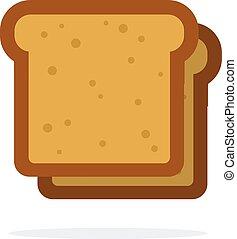 plat, vecteur, tranches, isolé, pain blanc, deux