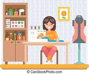 plat, vecteur, travail, illustration, métier, conception, couture, passe-temps, maison