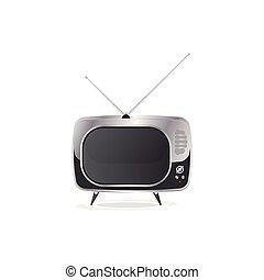 plat, vecteur, vieux, illustration, tv., retro, eps10