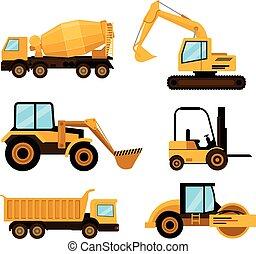 plat, vecteur, voitures, set., illustration, construction, dessin animé, icône
