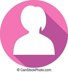 plat, vector, avatar, vrouwlijk, pictogram