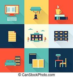 plat, vector, bibliotheek, iconen