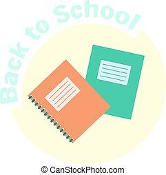 plat, vector, copy-book, kleurrijke, exercise-book
