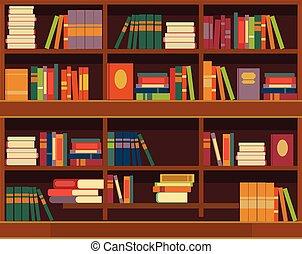 plat, vector, illustratie, boekenkast