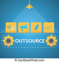 plat, vector, illustratie, mechanisme, outsourced