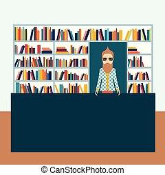 plat, vector, illustration., boekhandelaar, boekhandel, man.