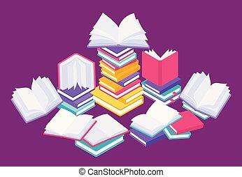 plat, vector, kennis, studeren, poster, concept., vliegen, illustratie, boekjes , lezende , afsluiten, books., opleiding, open, stapel