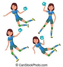 plat, vector., marquer, caractère, isolé, illustration, joueur, attack., femme, handball, constitué, dessin animé, identity.