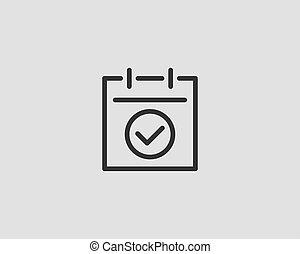 plat, vector, ontwerp, kalender, lijn, pictogram