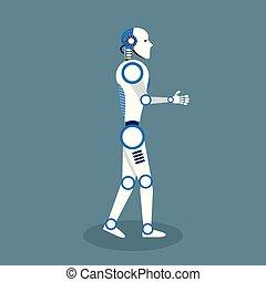 plat, vector, ontwerp, robot, illustratie