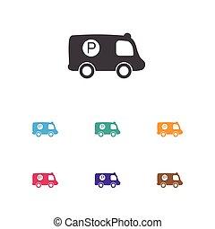 plat, vector, patrouille, symbool, vrijstaand, illustratie, element, complex, voertuig, modieus, premie, icon., kwaliteit, style., politie