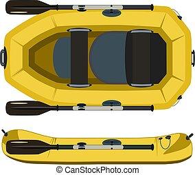 plat, vector, rafting, scheepje, illustratie