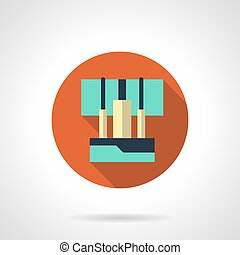 plat, vector, samenhangend, audio, kabels, ronde, pictogram