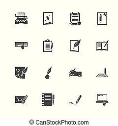 plat, vector, -, schrijvende , iconen