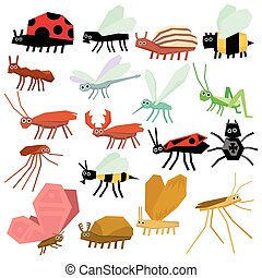 plat, vector, set, illustratie, insects.
