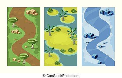 plat, vector, set, van, 3, verticaal, achtergronden, voor, beweeglijk, game., seamless, scènes, met, bospaden, zanderig, eilanden, en, rivier