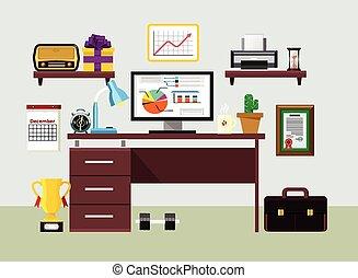 plat, vector, werkplaats, illustratie