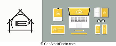 plat, vector, woning, -, project planning, ontwerp, pictogram