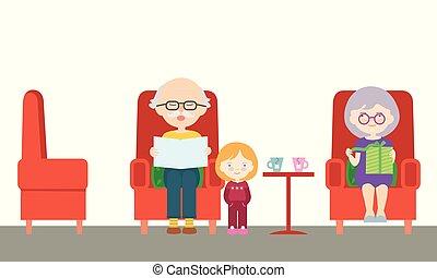 plat, vector, zittende , jarig, grootvader, vrijstaand, illustratie, spotprent, grootmoeder, bezoek, achtergrond, ontwerp, kleinkind, krant, stoel, lezende , present., witte , uitpakken