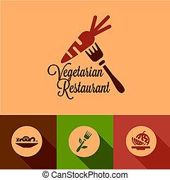 plat, vegetariër, restaurant, iconen