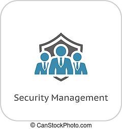 plat, veiligheid, management, icon., design.