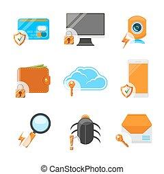 plat, veiligheid, set, netwerk, pictogram
