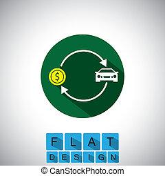 plat, Vente,  Automobile,  -, vecteur, conception, voiture,  gra, achat, icône