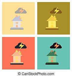plat, vergadering, iconen, woning, natuur, lightning