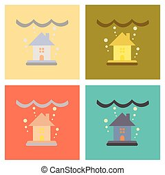 plat, vergadering, iconen, woning, natuur, overstroming