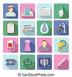 plat, verpleegkundige, set, pictogram
