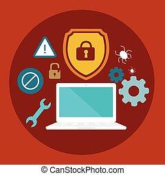 plat, verrouillé, bouclier, illustration, virus, informatique, anti, sécurité