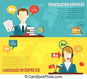 plat, vertaling, set, banieren, woordenboek