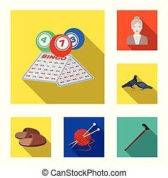plat, vie, ensemble, vieux, illustration., icônes, âge, retraité, période, collection, vecteur, toile, humain, design., symbole, stockage
