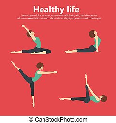 plat, vie, ensemble, yoga, illustration., positions, sain, concept., vecteur, gymnastique, fitness, training., sport, recreation., icône