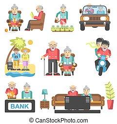 plat, vie, plus vieux gens, style, vecteur, icônes
