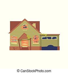 plat, vieux, abandonnés, maison, haut, dessin animé, garage, vecteur, vert, fenetres, porte, abordé, style.