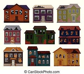 plat, vieux, abandonnés, petites maisons, maisons, grand, windows., two-storey, toit, détruit, cassé, vecteur, façades, bâtiments.