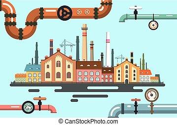 plat, vieux, illustration., usine, vecteur, conception, pipeline.