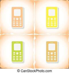 plat, vieux, mobile, autocollant, papier, téléphone., ombre