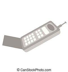 plat, vieux, mobile, illustration, téléphone, blanc