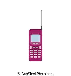 plat, vieux, mobile, illustration, téléphone, vecteur, conception, icône