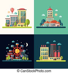 plat, ville, moderne, conceptuel, conception, illustrations