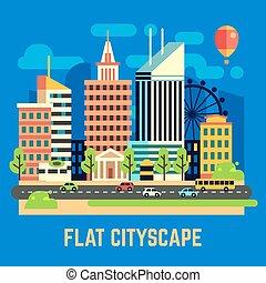 plat, ville, urbain, illustration, vecteur, paysage
