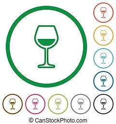 plat, vin, grands traits, verre, icônes