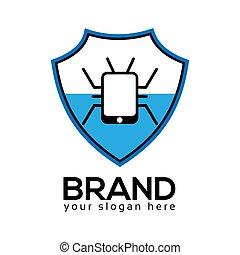 plat, virus bescherming, ontwerp, logo, template.