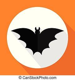 plat, vleermuis, lang, vector, shadow., pictogram
